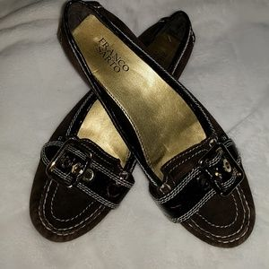 Franco Sarto Brown Suede Buckle Flat Size 8.5